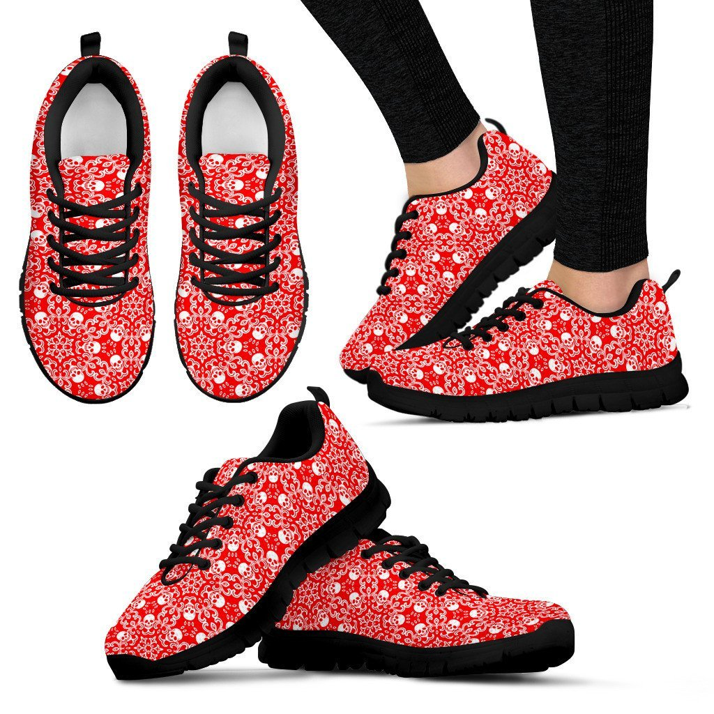 Skull Obsession Women's Sneakers - Black - Red & Black / US5 (EU35) Colorful SKULL  Women's Sneakers