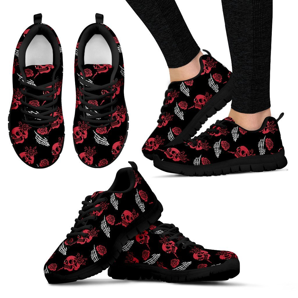 Skull Obsession Women's Sneakers - Black - red & white / US5 (EU35) SKELETON & ROSES SNEAKERS
