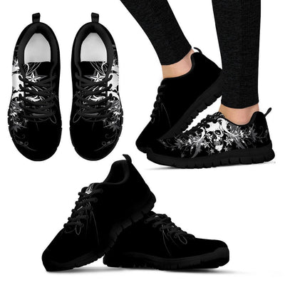 Skull Obsession Women's Sneakers - Black - W / US5 (EU35) BLACK SKULL SNEAKER II