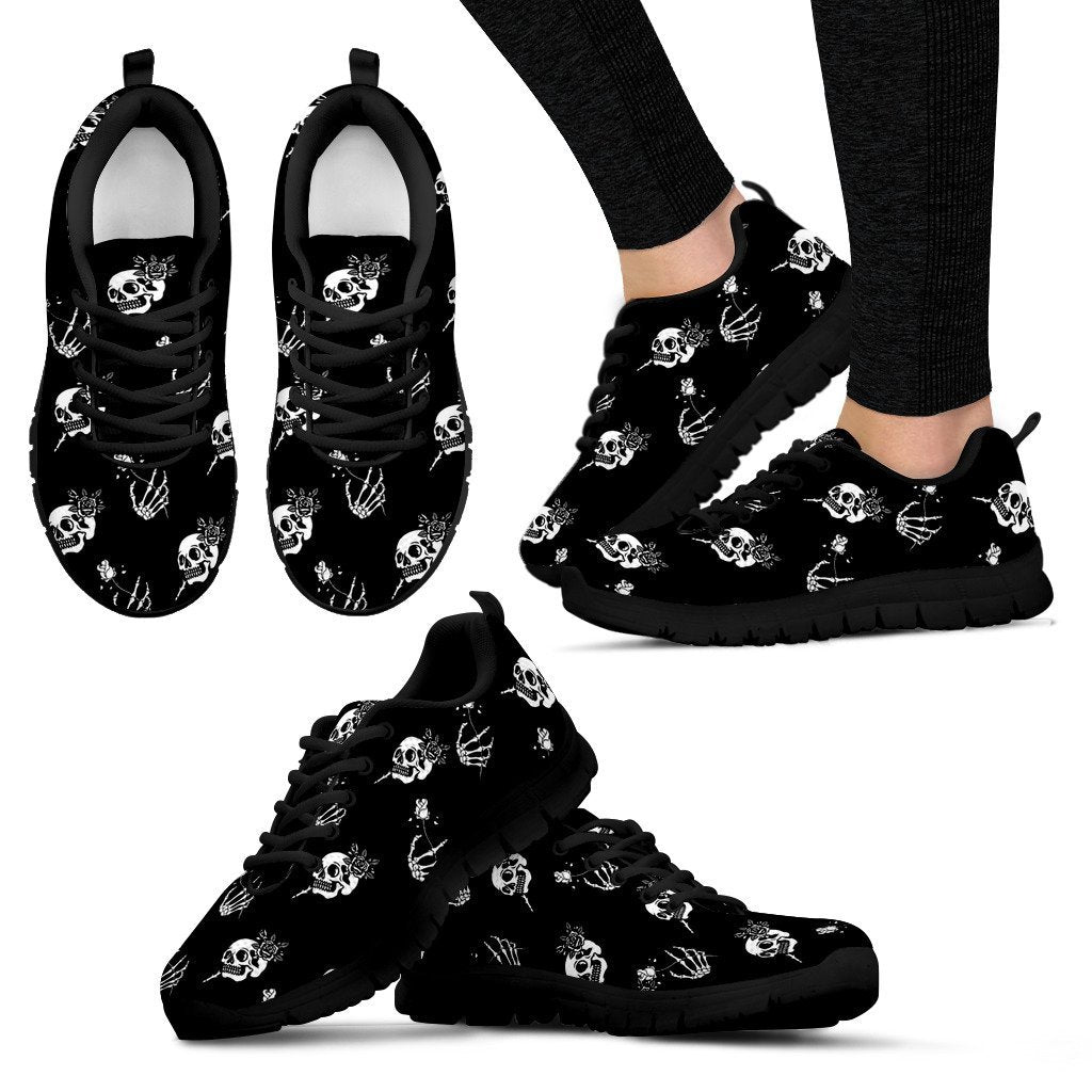 Skull Obsession Women's Sneakers - Black - white / US5 (EU35) SKELETON & ROSES SNEAKERS