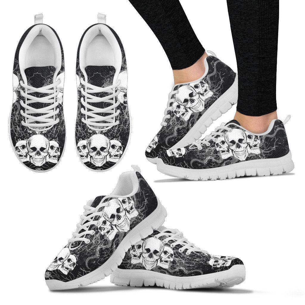 Skull Obsession Women's Sneakers - White - DARK GRAY JEANS / US5 (EU35) Triple Skull Women's Sneakers I
