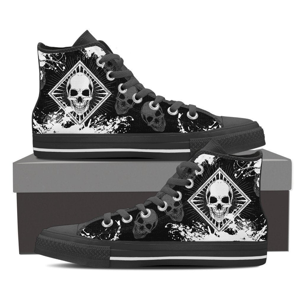 Skull Obsession Womens High Top - Black - Black / Women US6 (EU36) Skull High Top Canvas Shoe ii