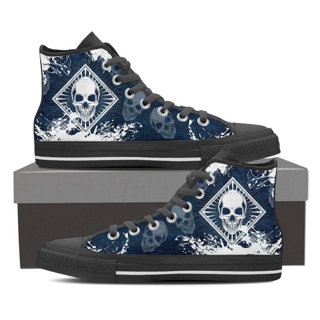Skull Obsession Womens High Top - Black - Blue / Women US6 (EU36) Skull High Top Canvas Shoe ii