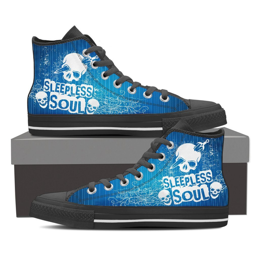 Skull Obsession Womens High Top - Black - BLUE / Women US6 (EU36) SLEEPLESS SOUL High Tops