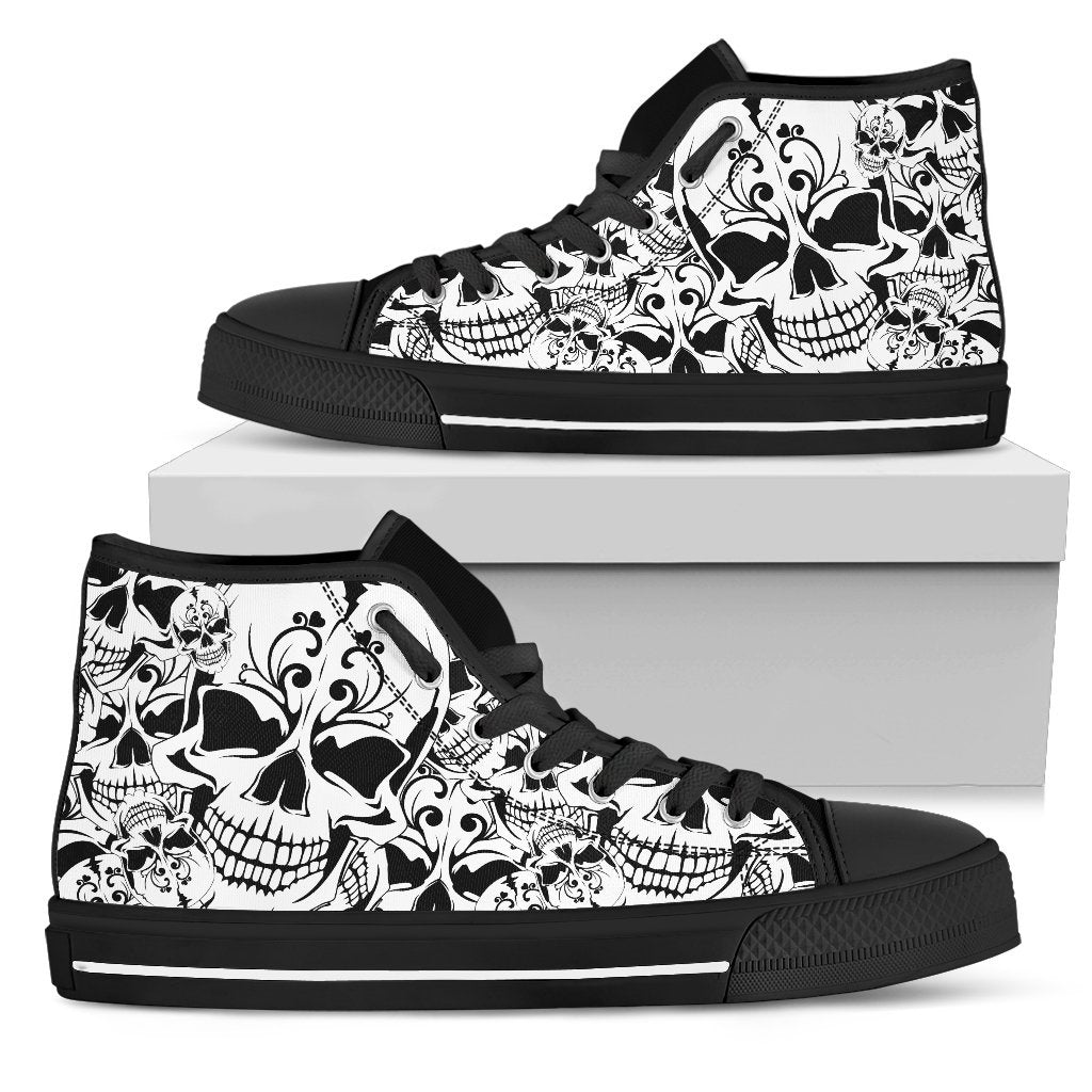 Skull Obsession Womens High Top - Black - high / US5.5 (EU36) Sketched Skull Women's Shoes