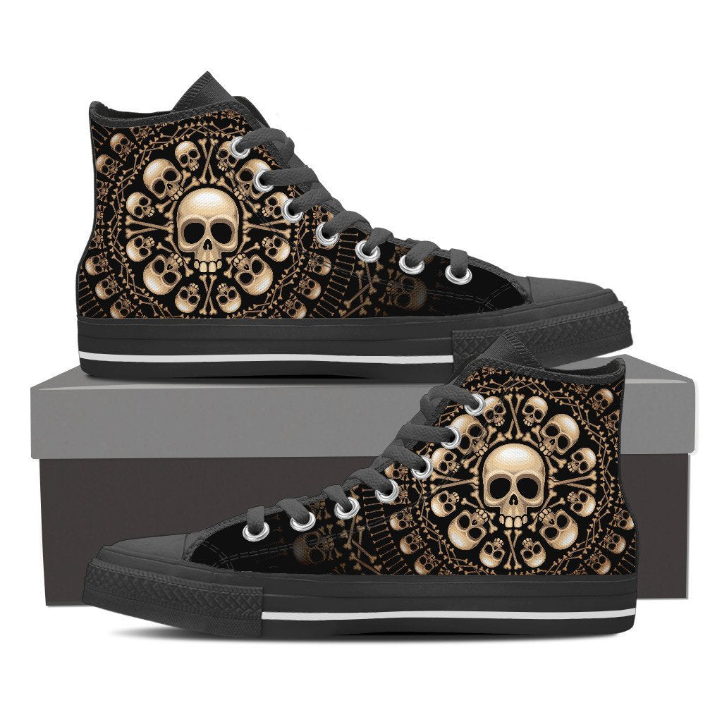 Skull Obsession Womens High Top - Black - W BLACK / Women US6 (EU36) Skulls & Bones High Top