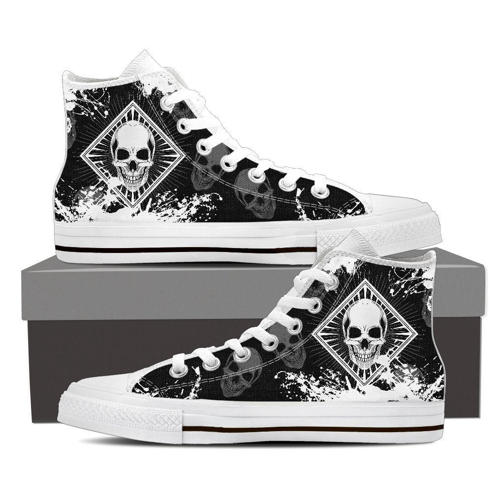 Skull Obsession Womens High Top - White - Black / Women US6 (EU36) Skull High Top Canvas Shoe ii