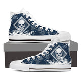Skull Obsession Womens High Top - White - Blue / Women US6 (EU36) Skull High Top Canvas Shoe ii