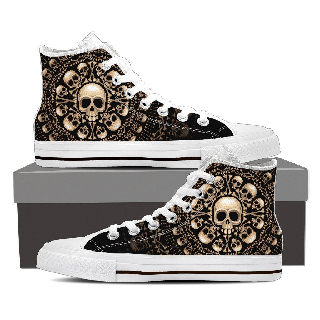 Skull Obsession Womens High Top - White - W WHITE / Women US6 (EU36) Skulls & Bones High Top