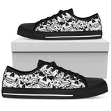 Skull Obsession Womens Low Top - Black - how / US5.5 (EU36) Sketched Skull Women's Shoes