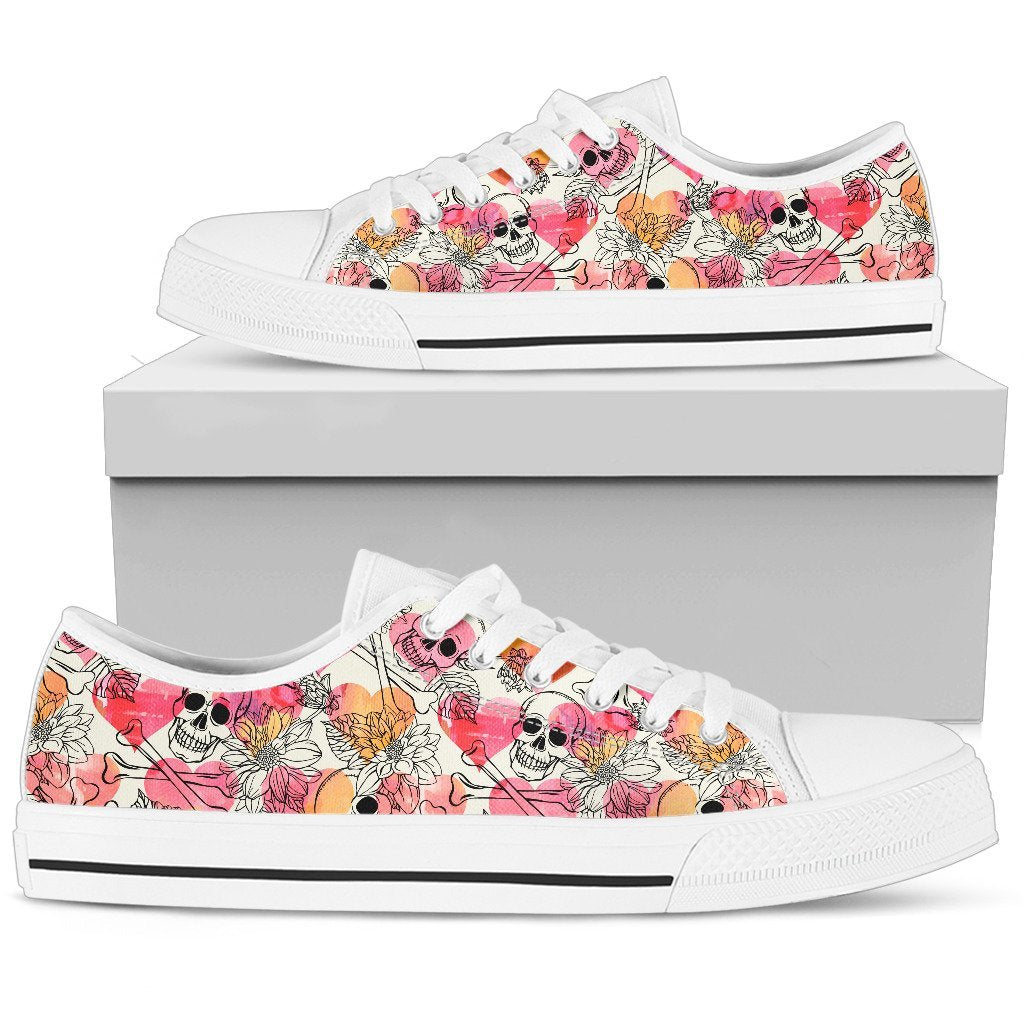 Skull Obsession Womens Low Top - White - W / US5.5 (EU36) Colorful Skull Women Low Top Shoes