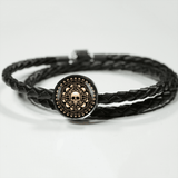 Skull Obsession Woven Leather Bracelet & Charm M/L Woven Leather Charm Bracelet Skull and Bones Real-Leather Charm Bracelet
