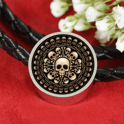 Skull Obsession Woven Leather Bracelet & Charm Skull and Bones Real-Leather Charm Bracelet