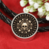 Skull Obsession Woven Leather Bracelet & Charm S/M Woven Leather Charm Bracelet Skull and Bones Real-Leather Charm Bracelet