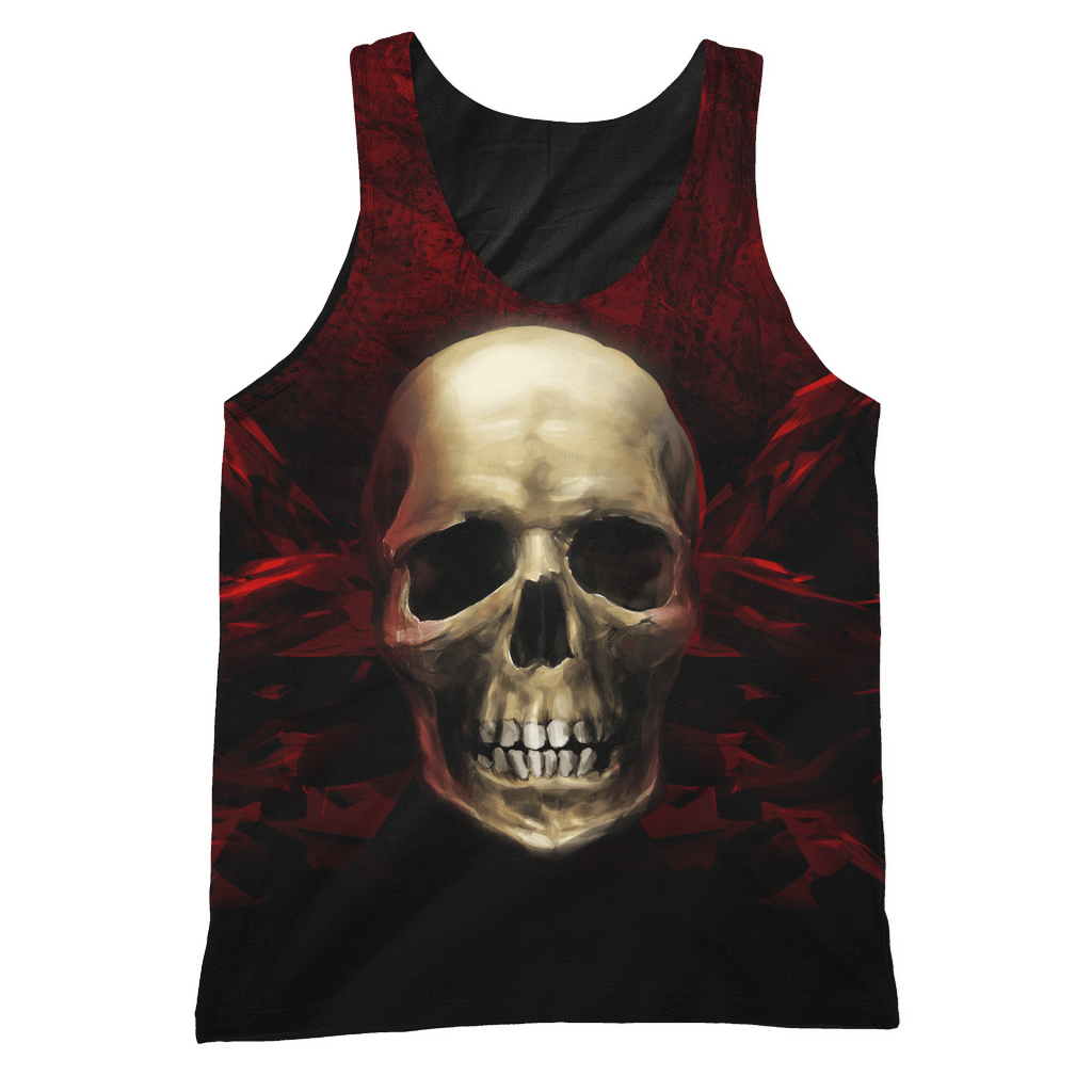 teelaunch All Over Print 2 S Red Angry Skull Tank