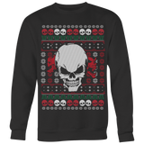teelaunch T-shirt Crewneck Sweatshirt / Black / S Angry Skull  Ugly Christmas Shirt