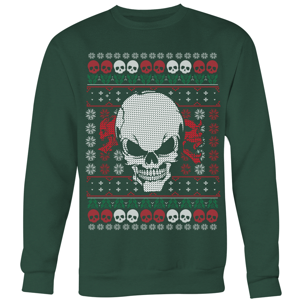 teelaunch T-shirt Crewneck Sweatshirt / Dark Green / S Angry Skull  Ugly Christmas Shirt