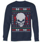 teelaunch T-shirt Crewneck Sweatshirt / Navy / S Angry Skull  Ugly Christmas Shirt