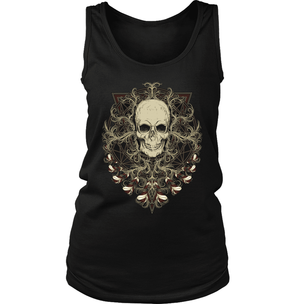 teelaunch T-shirt District Womens Tank / Black / S Ornamental Skull Tanks
