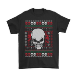 teelaunch T-shirt Gildan Mens T-Shirt / Black / S Angry Skull  Ugly Christmas Shirt
