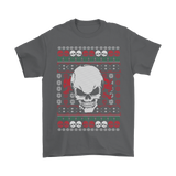 teelaunch T-shirt Gildan Mens T-Shirt / Charcoal / S Angry Skull  Ugly Christmas Shirt