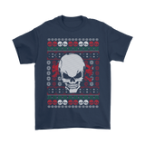 teelaunch T-shirt Gildan Mens T-Shirt / Navy / S Angry Skull  Ugly Christmas Shirt