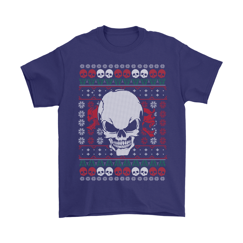 teelaunch T-shirt Gildan Mens T-Shirt / Purple / S Angry Skull  Ugly Christmas Shirt
