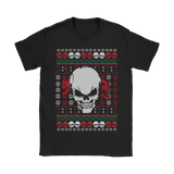 teelaunch T-shirt Gildan Womens T-Shirt / Black / S Angry Skull  Ugly Christmas Shirt