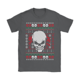 teelaunch T-shirt Gildan Womens T-Shirt / Charcoal / S Angry Skull  Ugly Christmas Shirt