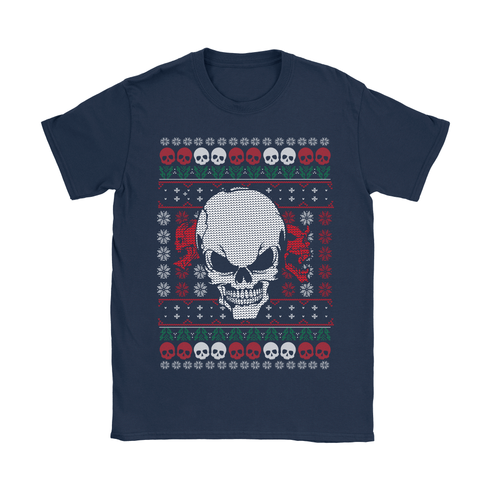 teelaunch T-shirt Gildan Womens T-Shirt / Navy / S Angry Skull  Ugly Christmas Shirt