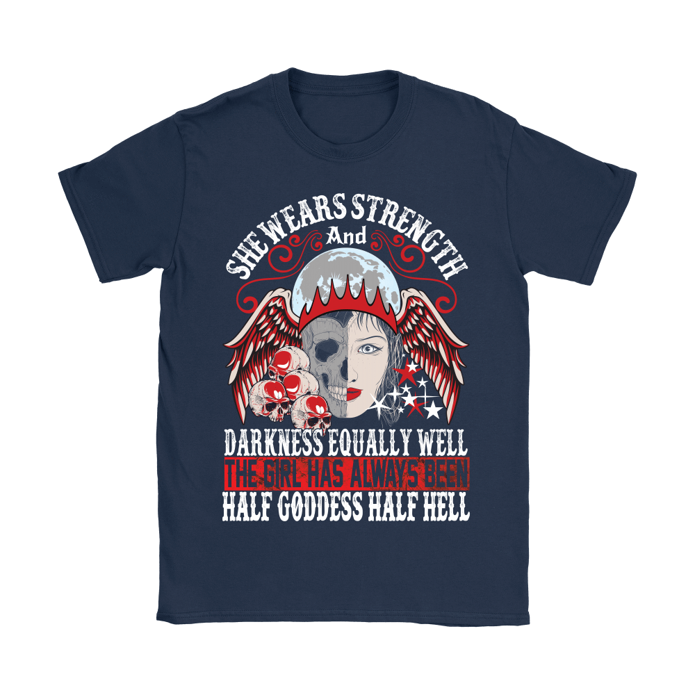 teelaunch T-shirt Gildan Womens T-Shirt / Navy / S Half Goddess Half Hell