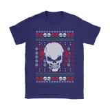teelaunch T-shirt Gildan Womens T-Shirt / Purple / S Angry Skull  Ugly Christmas Shirt