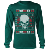 teelaunch T-shirt Long Sleeve Shirt / Dark Green / S Angry Skull  Ugly Christmas Shirt