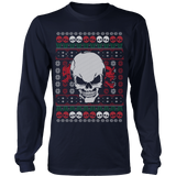 teelaunch T-shirt Long Sleeve Shirt / Navy / S Angry Skull  Ugly Christmas Shirt