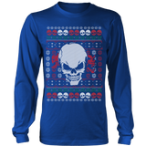 teelaunch T-shirt Long Sleeve Shirt / Royal Blue / S Angry Skull  Ugly Christmas Shirt