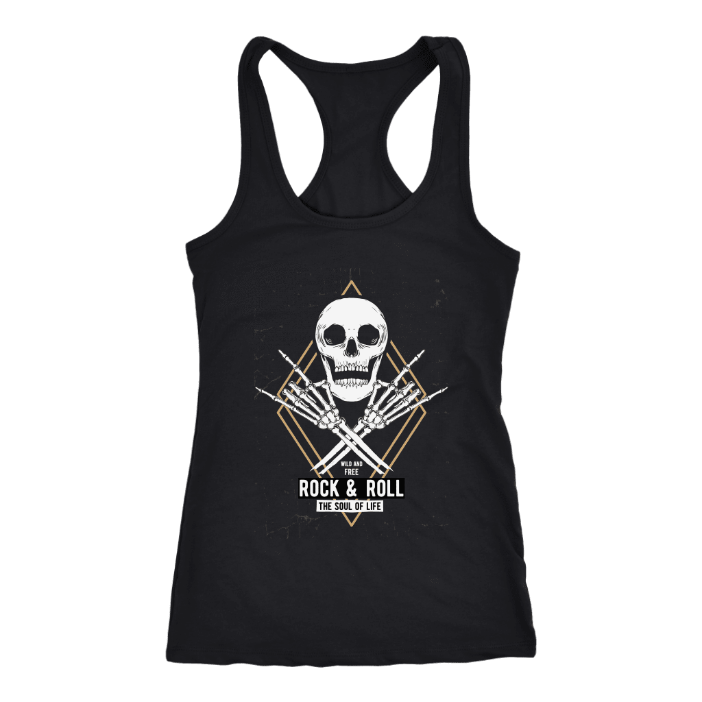 teelaunch T-shirt Next Level Racerback Tank / Black / XS Rock & Roll Skull Tanks