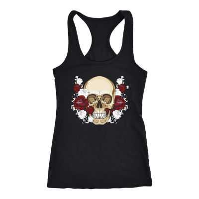 teelaunch T-shirt Next Level Racerback Tank / Black / XS Skull & Red Roses Tanks
