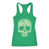 teelaunch T-shirt Next Level Racerback Tank / Kelly / XS Skull of Floral Tanks