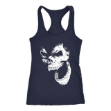 teelaunch T-shirt Next Level Racerback Tank / Navy / XS Angry Skull Tanks