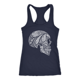 teelaunch T-shirt Next Level Racerback Tank / Navy / XS Cool Skull Tanks