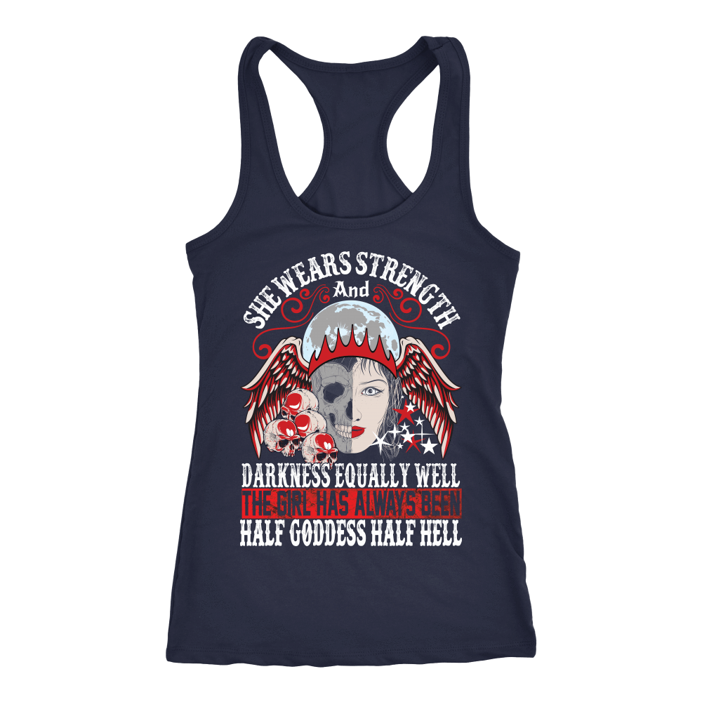 teelaunch T-shirt Next Level Racerback Tank / Navy / XS Half Goddess Half Hell