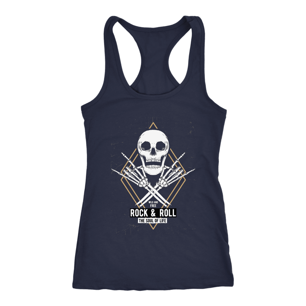 teelaunch T-shirt Next Level Racerback Tank / Navy / XS Rock & Roll Skull Tanks