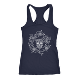 teelaunch T-shirt Next Level Racerback Tank / Navy / XS Skull & Roses Tanks