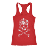 teelaunch T-shirt Next Level Racerback Tank / Red / XS Floral Skull Tanks
