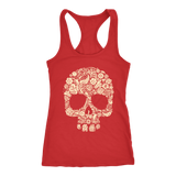 teelaunch T-shirt Next Level Racerback Tank / Red / XS Skull of Floral Tanks