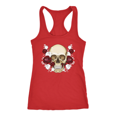 teelaunch T-shirt Next Level Racerback Tank / Navy / XS Skull & Red Roses Tanks