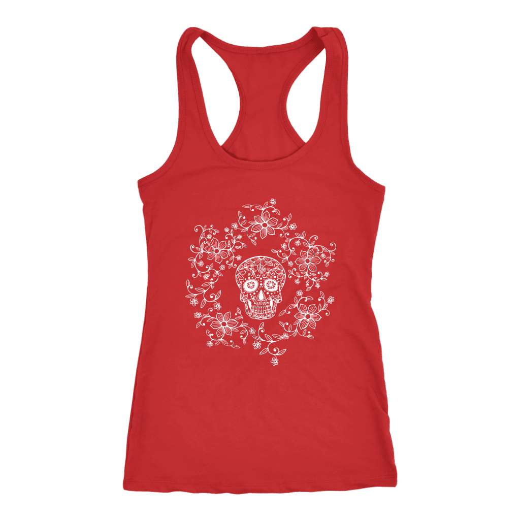 teelaunch T-shirt Next Level Racerback Tank / Red / XS Skull & Roses Tanks