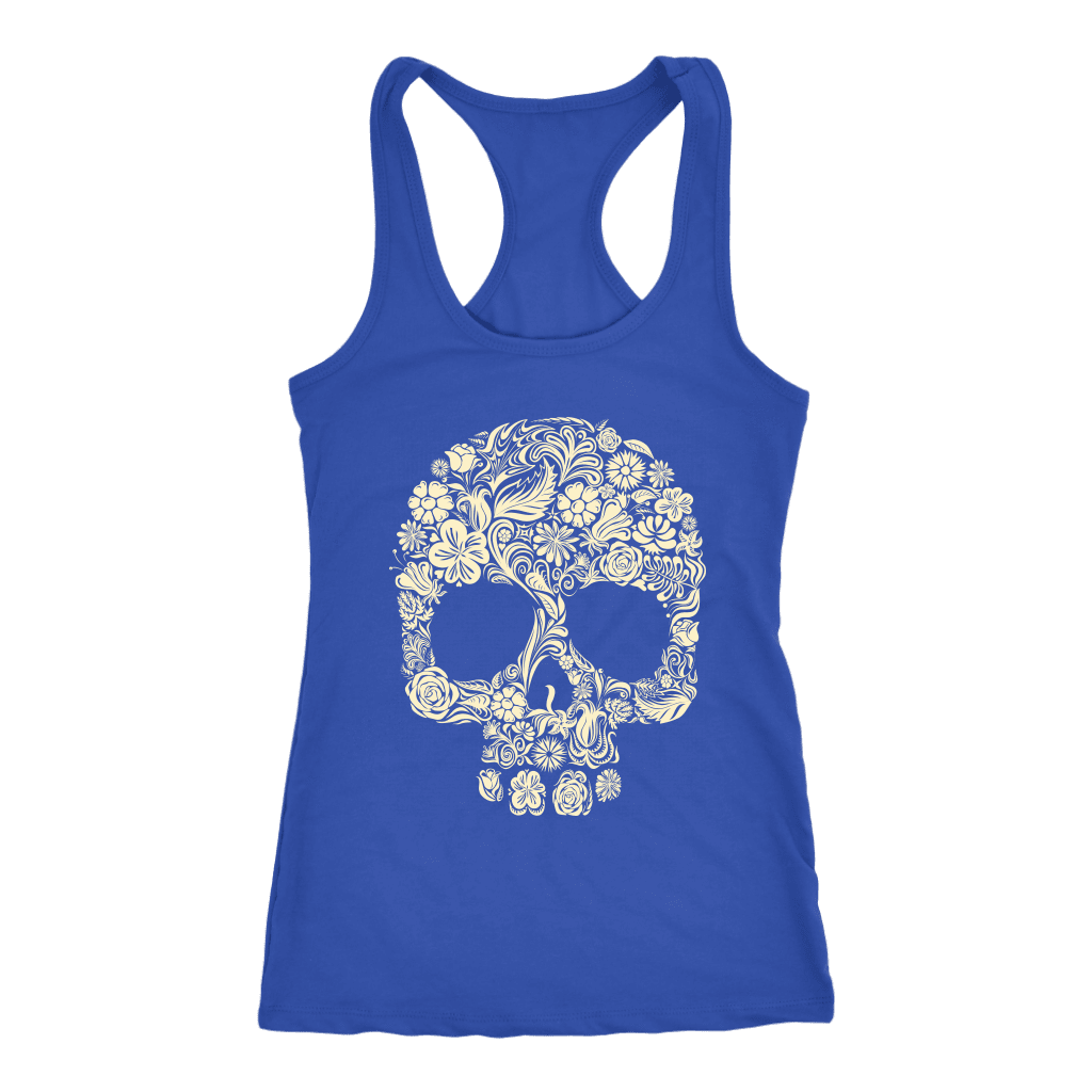 teelaunch T-shirt Next Level Racerback Tank / Royal / XS Skull of Floral Tanks