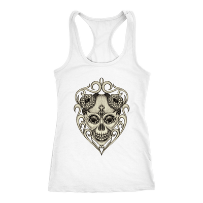 teelaunch T-shirt Next Level Racerback Tank / Navy / XS Hand Drawing Jewelry Skull Tanks