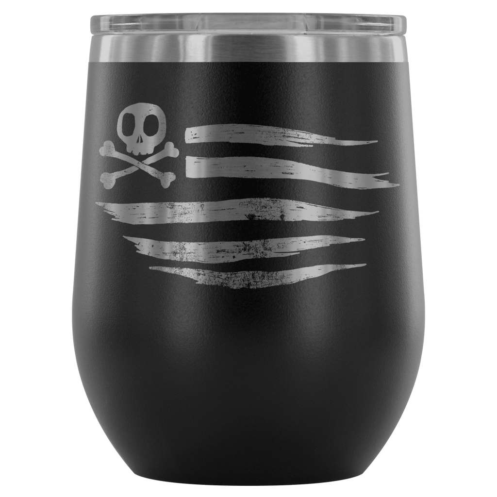 teelaunch Wine Tumbler Black American Flag Wine Tumbler